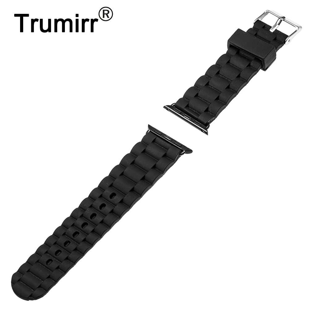 22mm 24mm Silicone Rubber Watchband for iWatch Apple Watch 38mm 42mm Replacement Band Strap Bracelet with Link Connector Adapter safety buckle watchband silicone rubber strap with quick release adapter for iwatch apple watch 38mm 42mm band bracelet