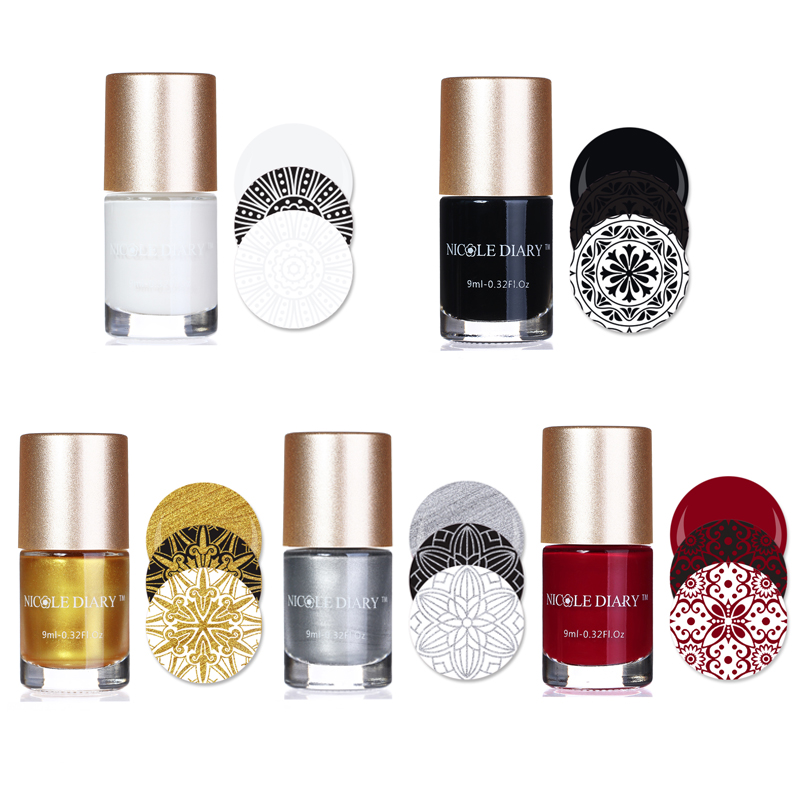 NICOLE DIÁRIO 9 ml Doce Cor Nail Art Stamping Verniz Verniz Stamping Verniz Nail Art Polonês 13 Cores