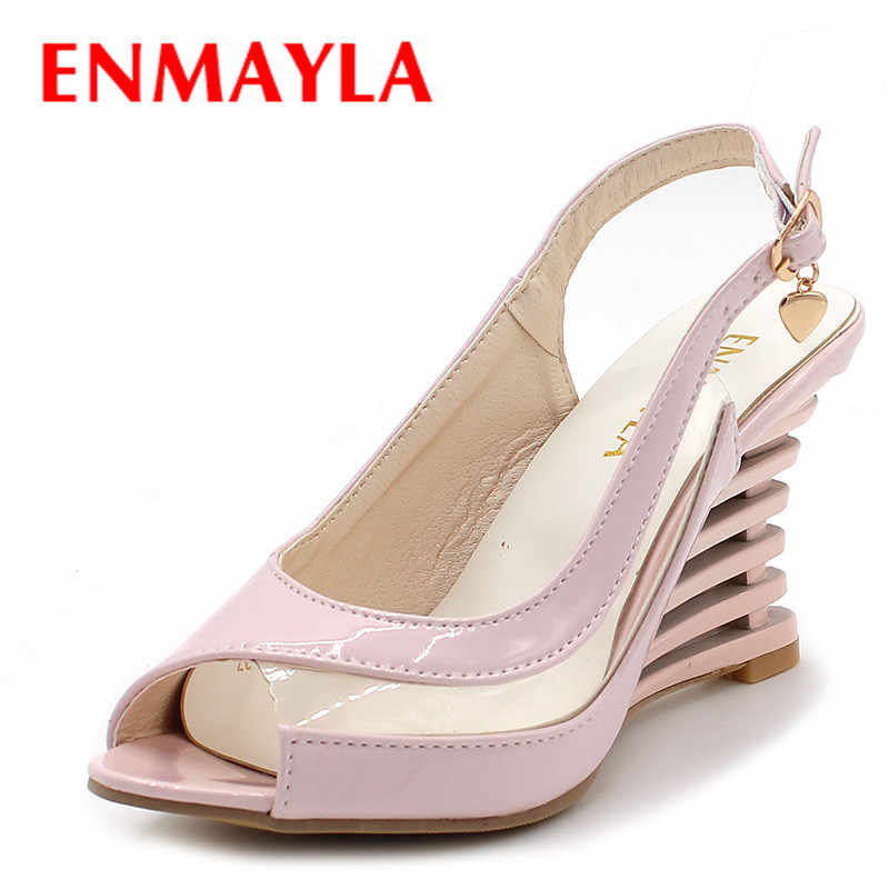 ENMAYLA Wedges Heel Sandals Buckle Style Open Toe Shoes Transparent Women Summer Shoes Patent PU Sexy Summer Brand Shoes Woman