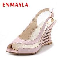 ENMAYLA אבזם סנדלי העקב טריזי נעלי אצבע פתוחה בסגנון שקוף קיץ של נעלי נשים פטנט PU סקסי קיץ אישה מותג נעליים