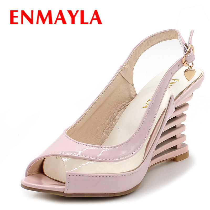 ENMAYLA Wedges Heel Sandals Buckle Style Open Toe Shoes Transparent Women Summer Shoes Patent PU Sexy Summer Brand Shoes Woman fashion woman sandals 2018 summer shoes women casual comfortable wedges open toe sandals women s sandals national style shoes