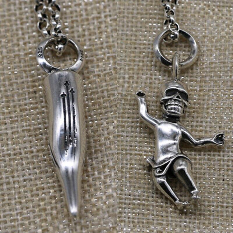 925 argent balle taille collier pendentif mâle punk rock grèce crânes humains pendentif porte-clés pendentif