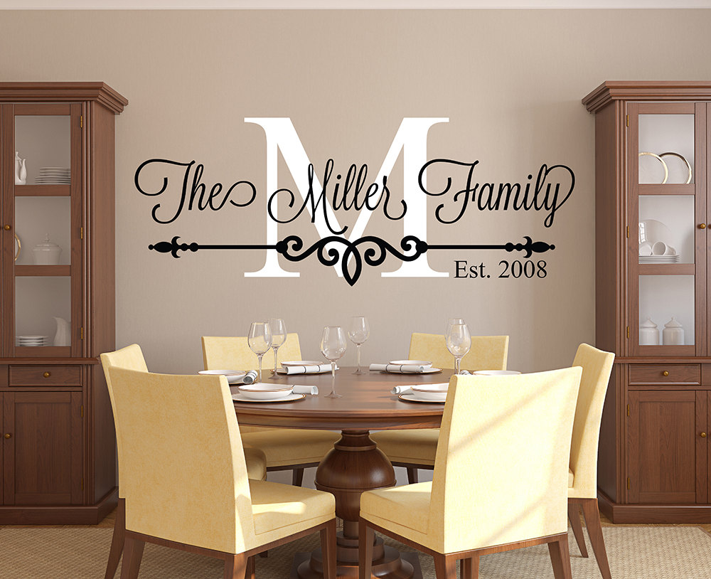 Family Monogram and Name Vinyl Wall Decal