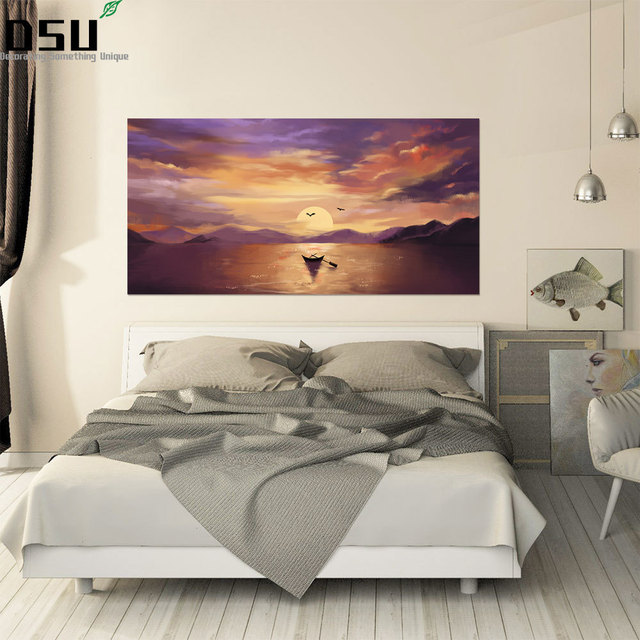 3D Sunset Scenery Bed Headboard Wallpaper Ocean Beach Seagulls Poster Removable Seascape Wall Sticker for Kids Room Home Decor