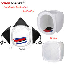 YINGNUOST Folding Digital camera Picture Studio Equipment Capturing Tent Softbox CubeBox 50 x 50cm picture mild tent with four Backdrops P4PM