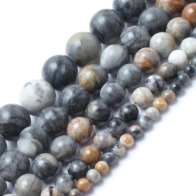 Natrual Stone Beads American Picasso Jasper Stone Round Beads For Jewelry Making
