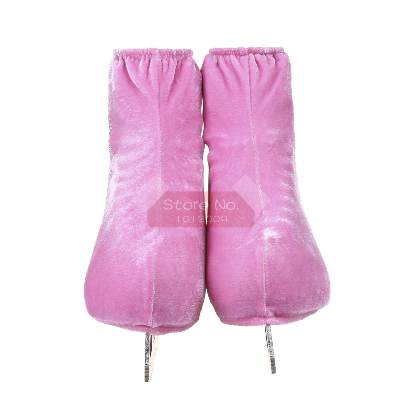 24 Colors Child Adult Velvet Ice Skating Figure Skating Shoes Cover Roller Skate Fabric Accessories White Skater 3 Rhinestone 22