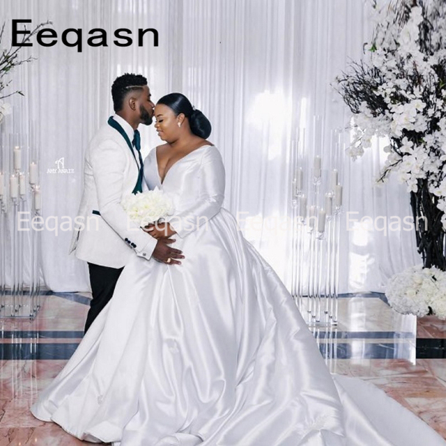 25165e7cd0 US $87.57 37% OFF|Aliexpress.com : Buy Elegant Plus Size Wedding Dresses  with Long Sleeves Ball Gown Court Train White Satin Vintage African Wedding  ...
