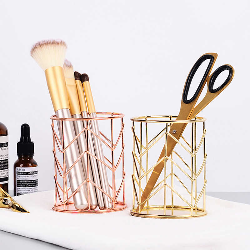 Nordic Rose Gold Wire Net Pencil Holder Cosmetic Brush Tube Desktop Organizer Storage Decorative Basket For Office Home School