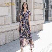 VOA 100% шелковое платье Для женщин летние длинный широкий шарф платья Boho печати пляжного отдыха sukienka Сексуальная туника с v образным вырезом В