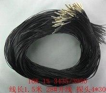 Envío Gratis 100 Uds. 1,5 metros Longitud del cable 28 # paralled yarn NTC sensor de temperatura, sonda 4*30mm 10K 1% 3950 NTC / 3435 NTC