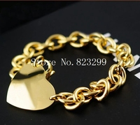 good quality lady's Gold  stainless steel fashion heart charms bracelet jewelry 8