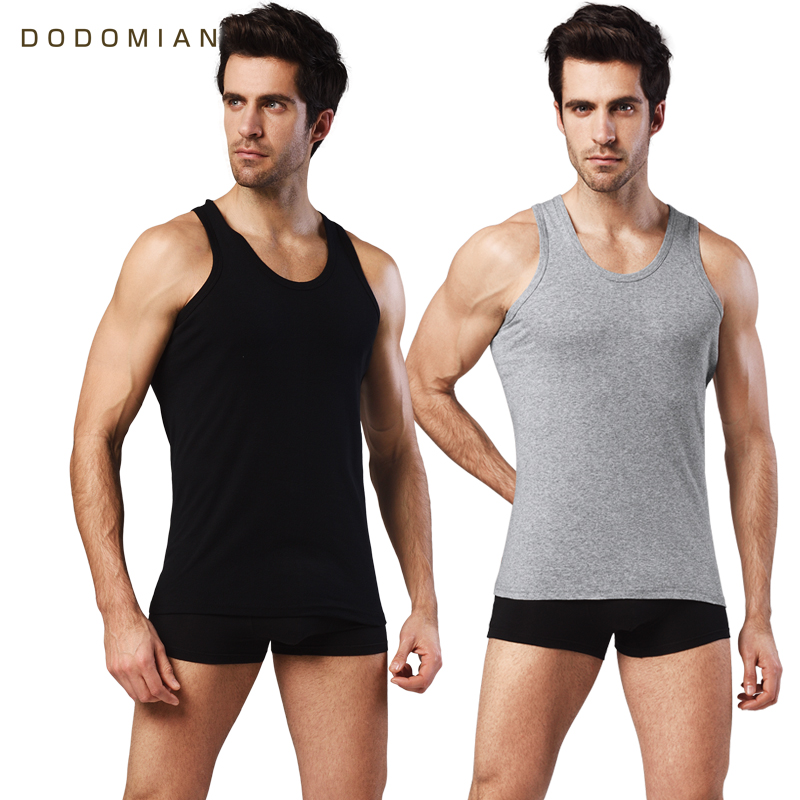 Men Cotton   Tank     Tops   2pieces Fitness Clothing Casual Soft Breathable Fashion Mens Solid Vest Summer O-Neck Undershirts