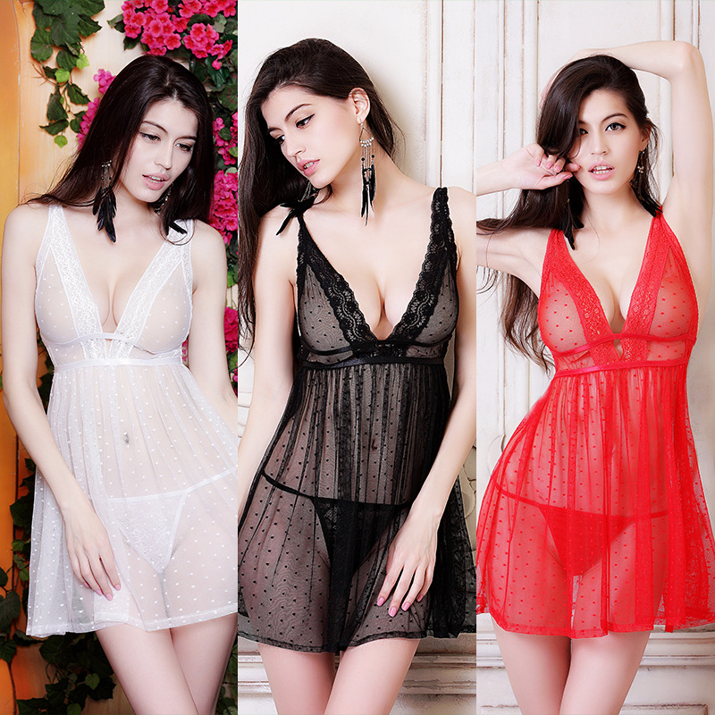 Women Sexy Transparent Deep V Neck Lace Lingerie Lady Underwear Exotic Dress Babydoll Nightgown Pajamas
