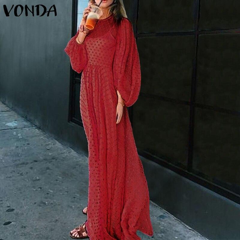 2019 весна осень платье VONDA женское сексуальное вечернее платье с круглым вырезом Femme Lantren рукав макси платья длинный пляжный сарафан 5XL