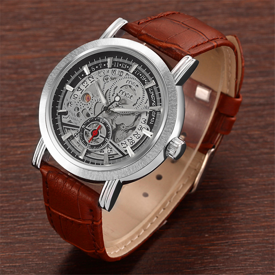 MCE  Automatic Mechanical Skeleton Steampunk Watch Men Self Widing Mens Watches 2017 Hot WristWatch For Man Relogio Masculino k colouring women ladies automatic self wind watch hollow skeleton mechanical wristwatch for gift box