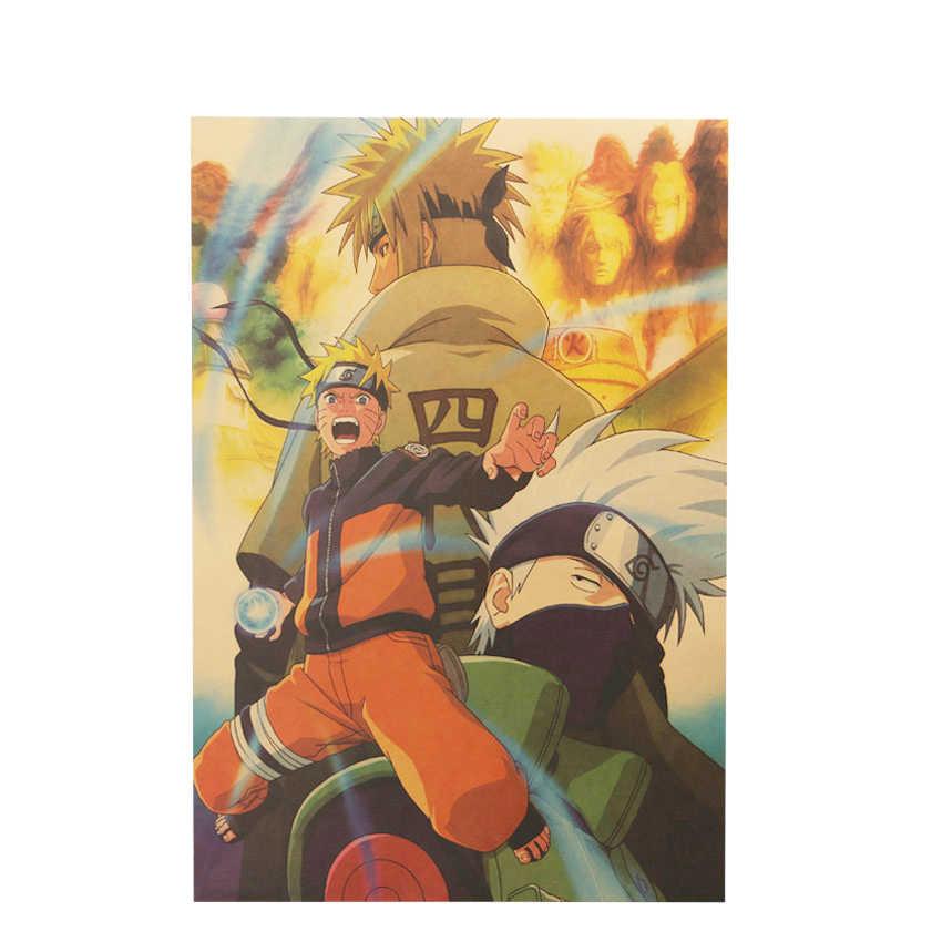 Gravata ler naruto uzumaki b estilo clássico dos desenhos animados japoneses quadrinhos papel kraft cartaz da barra retro pintura decorativa 51.5x36cm
