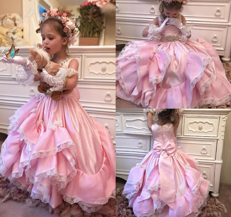 New Design Luxury   Flower     Girl     Dress   with Jewel Neck Rhinestones Lace Appliques Bow Satin Ball Gowns For Elegant Princeses Party