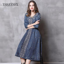 YSSAYSSX Vintage Embroidered Cropped Sleeve Dress  V-Neck Mid-Waist Denim Dress Vintage Embroidered Lantern Sleeve Denim Dress floral embroidered cutout cropped bell sleeve top