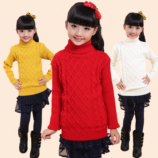 591b0c8e0e4a Kids Winter Sweaters For Girls Baby Boys Turtleneck Sweaters Unisex ...