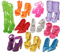 10pairs/lot Fashion Colorful Doll Accessories Shoes Heels Sandals For Barbie Dolls Best Gift For Girl Baby Toys Free Shipping(China)