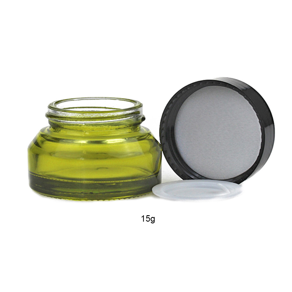 1pcs 15g 30g 50g Olive Green Cream Jar Refillable Bottles Oblique Shoulder Cream Empty Small Travel Makeup Containers in Refillable Bottles from Beauty Health