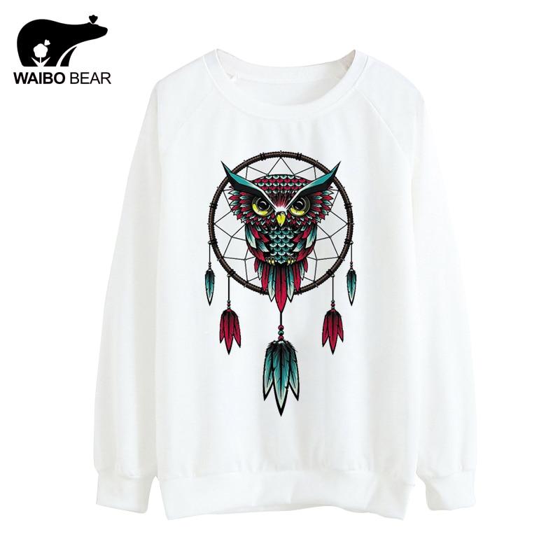 Dreamcatcher Style 2017 Campanula Owl Print Hoody Casual O-Neck Thin Hoodies Long Sleeve Sweatshirts For Women WAIBO BEAR