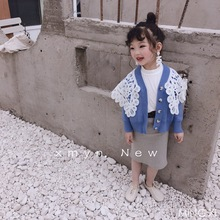 2019 spring new children's clothing children's sweater girls knit jacket spring new little girl lace coat недорого