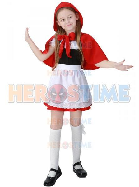 Girls Cosplay Little Red Riding Hood Kids Costume Halloween Costume
