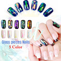 5 Colores DIY Belleza Casco De Vidrio Etiqueta Engomada Del Clavo Aurora Symphony Diseño Irregular Especular de Aluminio Papel de aluminio Manicura Decoración