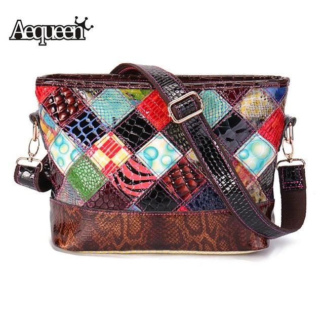3de32f64bdd5 AEQUEEN Genuine Leather Handbags Women Crossbody Bag Patchwork Geometric  Shoulder Sling Bag Ladies Totes Trunk Bolsa