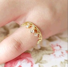 2017 Charming personality jewelry accessories wholesale new fashion crystal ring crown jewelry elegant shiny ladies jewelry