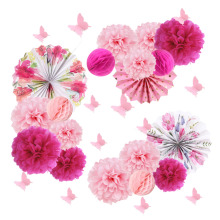 15pcs Wedding Decoration Tea Party Tissue Paper Pom Flowers Floral Pinwheels Rosettes Fans Butterfly Wall Stickers
