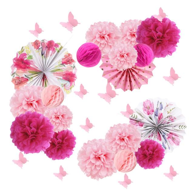 Tea Party Tissue Paper Pom Poms- Pinwheel & Rosette Decorations
