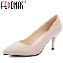 FEDONAS Women Genuine Leather Pumps Classic Design Thin High Heels Spring Summer Autumn Shoes Sexy Pointed Toe wedding Shoes(China)