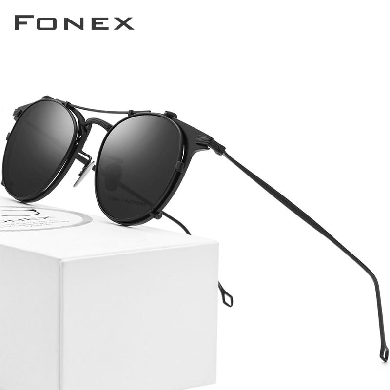 Fonex pure titanium glasses frame men clip on polarizado óculos de sol prescrição quadro feminino óculos redondos ópticos 502