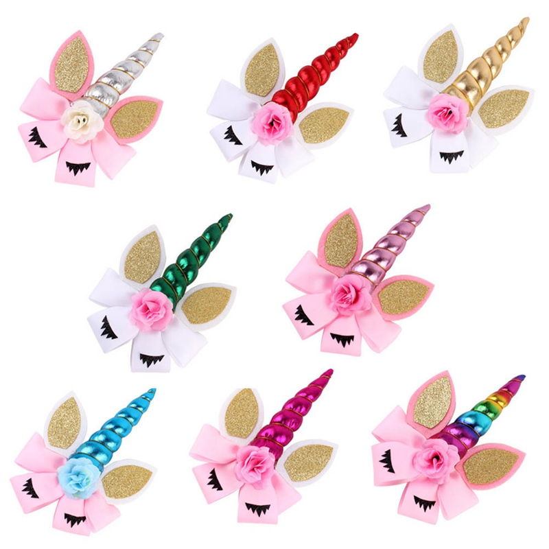kids cartoon hair bows glitter