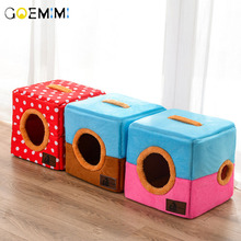 2019 Dog Pet House Foldable Bed With Mat Soft Patchwrok Dog Puppy Sofa House Kennel Nest Dog Cat Bed For Small Medium Dogs hot dog house nest with mat foldable pet dog bed cat bed house for small medium dogs travel pet bed bag product