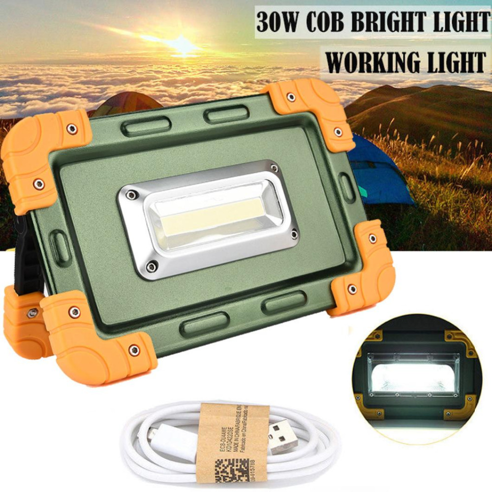 30W USB COB LED Portable Rechargeable Flood Light Spot Camping Lamp Outdoor Sport Cycling Camping Accessories Dec 15 cob led flood light dimmable 100w portable led floodlight cordless work light rechargeable spot outdoor working camping lamp