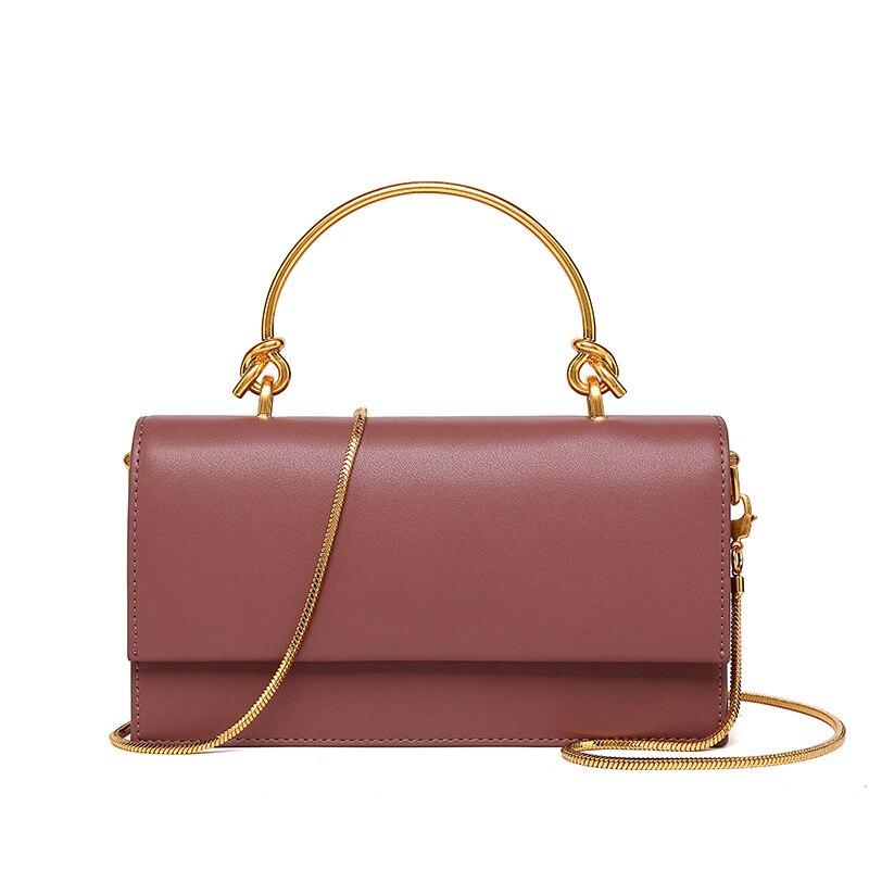 TANGDE 2019 primavera nueva llegada COLOR sólido lujo cuero minimalismo TOP HANDEL cadena dorada solapa bolso de mano