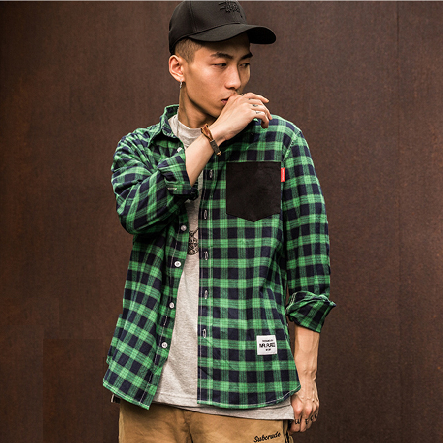 Men Shirt Long Sleeve Button Plaid Green Red Checkered Shirt Men Desinger Hip Hop Chemise Homme Mens Cotton Check Shirt 5C