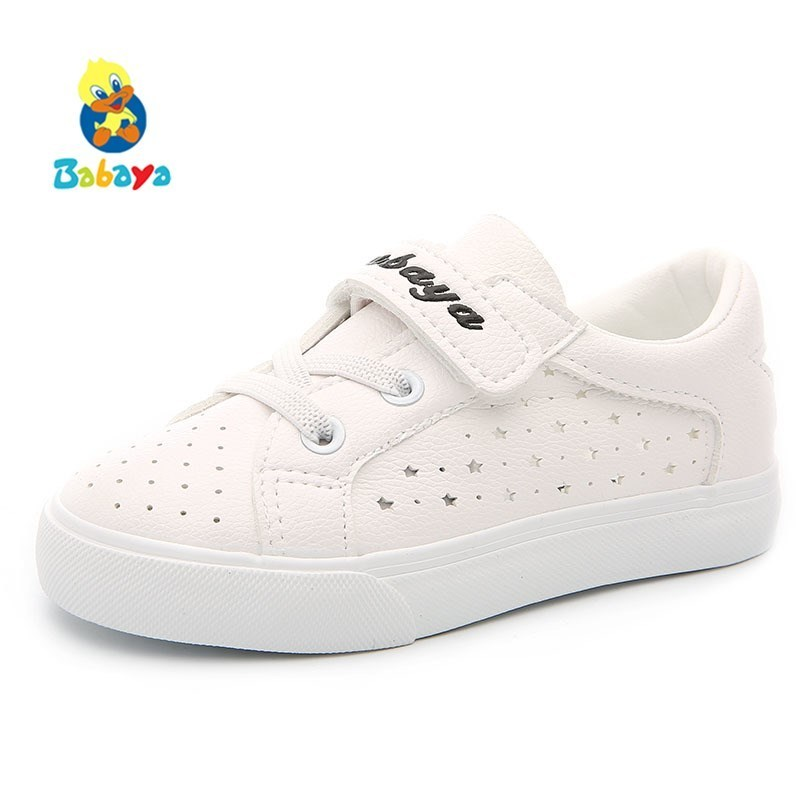 Children Casual Shoes Girls Sneakers Breathable PU 2018 Spring Summer Fashion Kids Shoes Boys Sports Shoes White Shoes