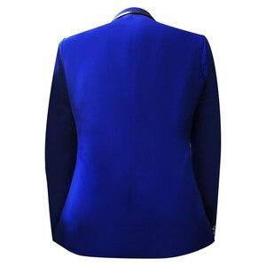 Image 2 - שלוש חתיכות להגדיר חליפות גברים של זמרים לבצע שלב להראות פאייטים רקום פרח אדום כחול ורוד חתונה חליפת תלבושות Homme