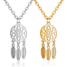 2019 Titanium Stainless Steel Hollow Out Mandala Lotus Necklace Gold Silver Tone Dream Catcher Pendant Fashion Jewelry