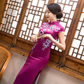 Traditional Chinese Dress with Flower Print Long Short Sleeve Drop Mandarin Collar High Silt Cheongsam Qipao for Women