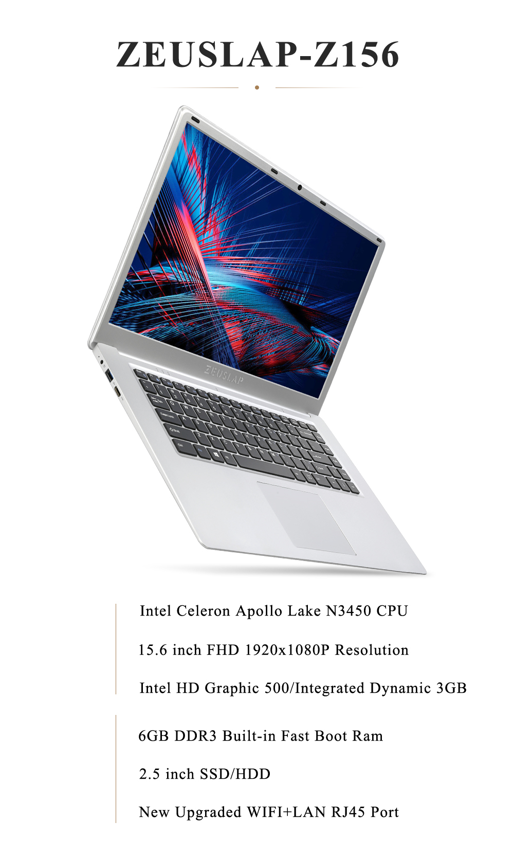 ZEUSLAP 15 6 polegada 1920x1080p full hd 6 gb ram 256 gb ssd windows 10  sistema wifi bluetooth ultrathin laptop notebook pc computador