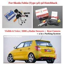 Car Parking Sensors Rearview Reverse Camera Alarm System For Skoda Fabia (Type 5J) 5d Hatchback 2007~2010 2011 2012 2013 2014