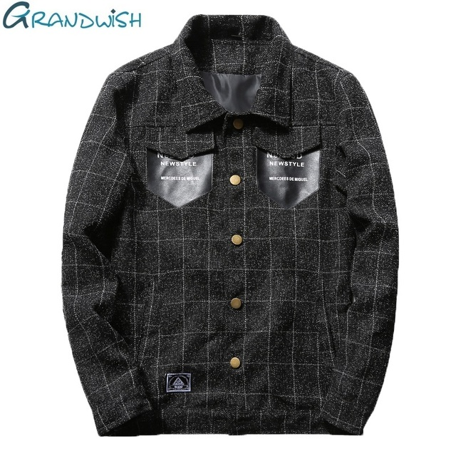 Grandwish Mens Jackets and Coats for Men 2017 Men's Spring Jacket Mandarin Collar Slim Fit Casual Jacket Plus Size 4XL ,PA965