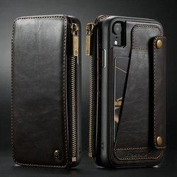 CaseMe чехол для iPhone XR XS Max кошелек на молнии Держатель для карт роскошные кожаные флип назад чехол для iPhone XS Max съемный чехол для телефона