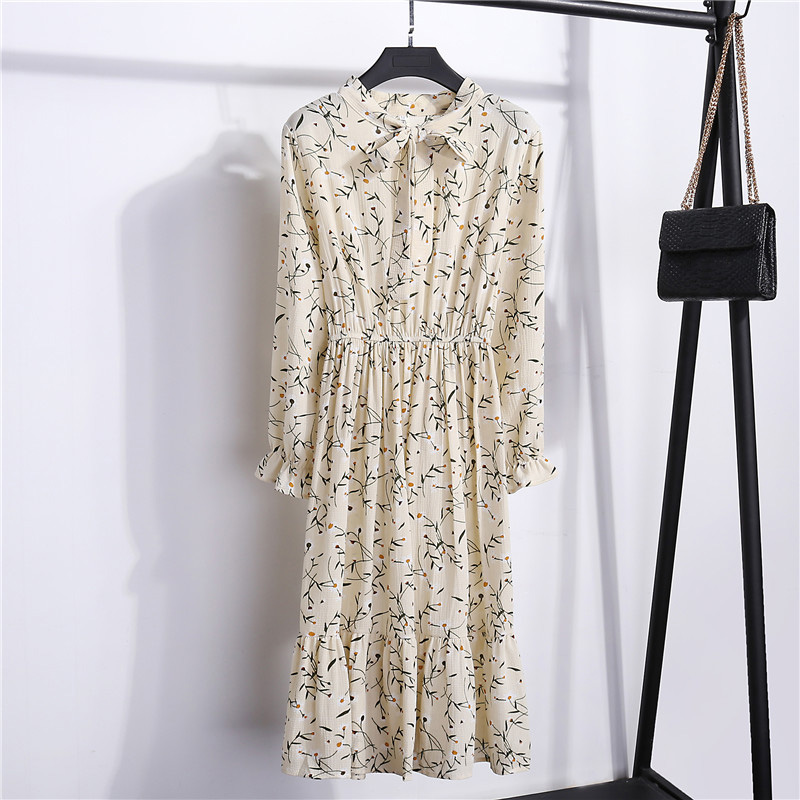 Summer Korean Chiffon Women Dress Elegant Ladies Vintage Long Dress Boho Floral Office Long Sleeve Vestidos Clothing 5LYQ003 48